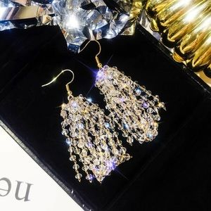 Long Tassel Drop Crystals Earrings